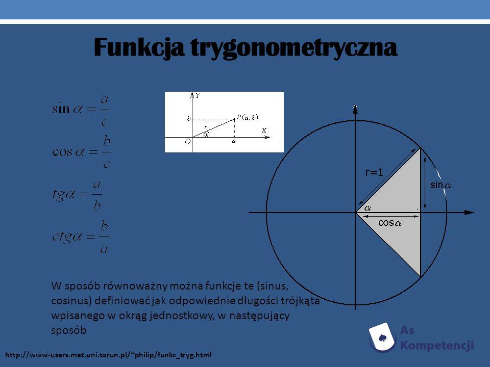 Funkcja trygonometryczna W sposób równoważny można funkcje te (sinus, cosinus) definiować jak odpowiednie długości trójkąta wpisanego w okrąg jednostk
