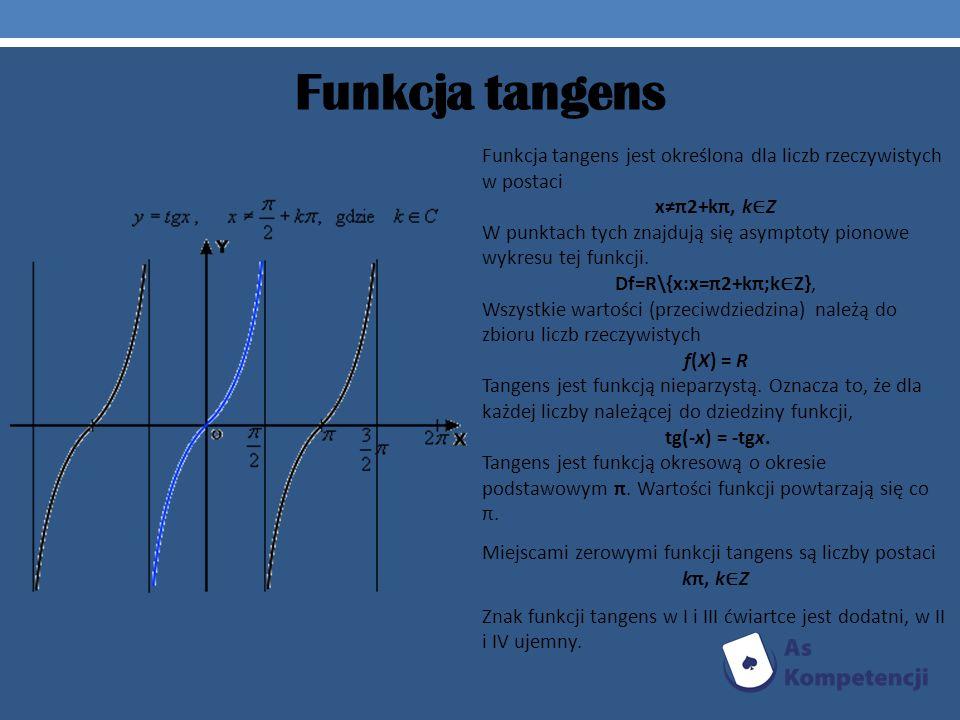 Funkcja tangens Funkcja tangens jest określona dla liczb rzeczywistych w postaci xπ2+kπ, k Z W punktach tych znajdują się asymptoty pionowe wykresu te