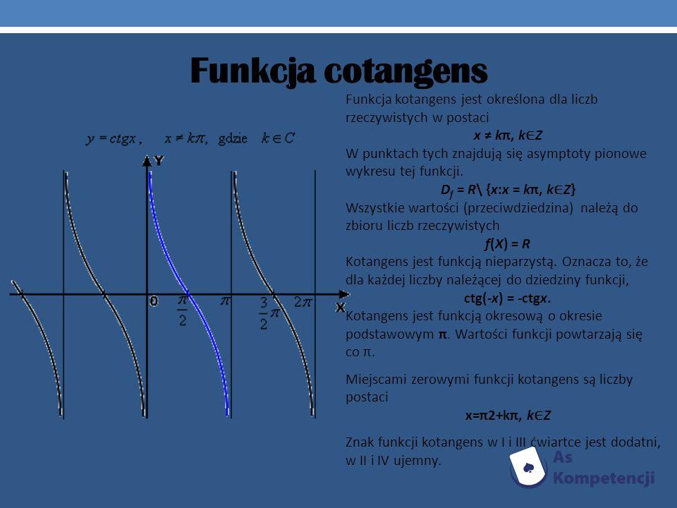 Funkcja cotangens Funkcja kotangens jest określona dla liczb rzeczywistych w postaci x kπ, k Z W punktach tych znajdują się asymptoty pionowe wykresu