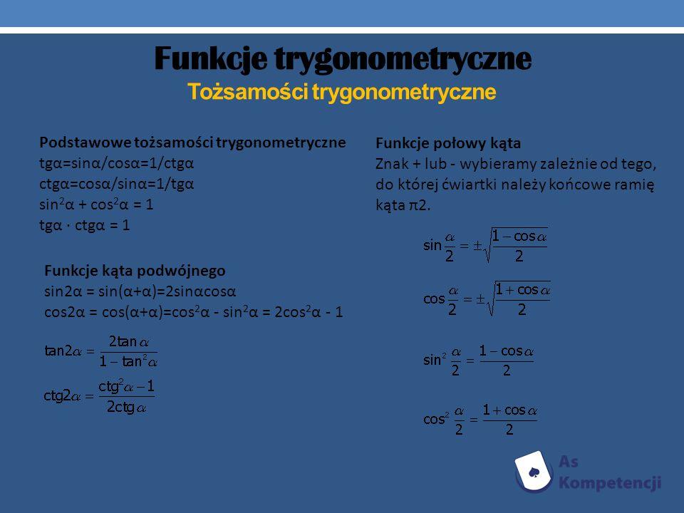 Funkcje trygonometryczne Tożsamości trygonometryczne Funkcje połowy kąta Znak + lub - wybieramy zależnie od tego, do której ćwiartki należy końcowe ra