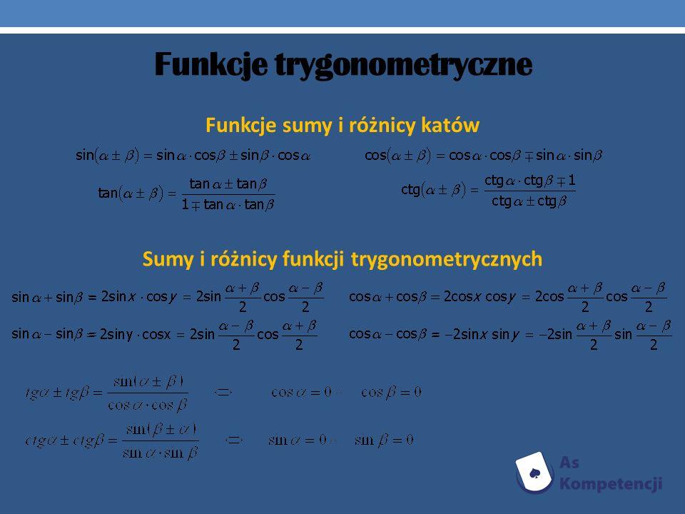 Funkcje trygonometryczne Funkcje sumy i różnicy katów Sumy i różnicy funkcji trygonometrycznych