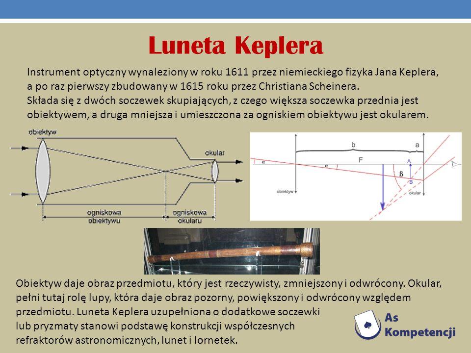 Luneta Keplera Instrument optyczny wynaleziony w roku 1611 przez niemieckiego fizyka Jana Keplera, a po raz pierwszy zbudowany w 1615 roku przez Chris