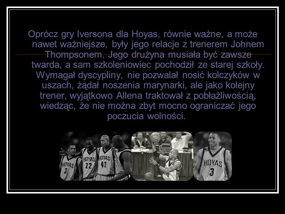 Oprócz gry Iversona dla Hoyas, równie ważne, a może nawet ważniejsze, były jego relacje z trenerem Johnem Thompsonem. Jego drużyna musiała być zawsze
