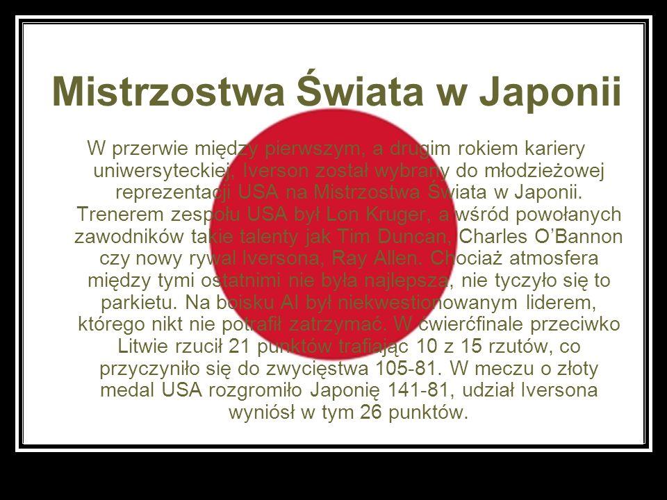 Mistrzostwa Świata w Japonii W przerwie między pierwszym, a drugim rokiem kariery uniwersyteckiej, Iverson został wybrany do młodzieżowej reprezentacj