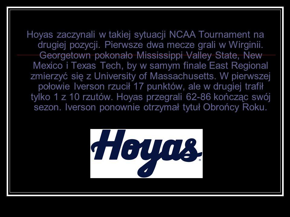 Hoyas zaczynali w takiej sytuacji NCAA Tournament na drugiej pozycji. Pierwsze dwa mecze grali w Wirginii. Georgetown pokonało Mississippi Valley Stat