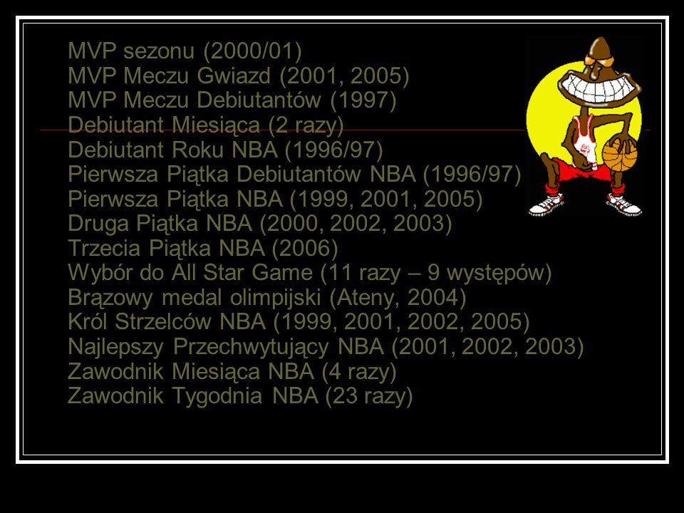 MVP sezonu (2000/01) MVP Meczu Gwiazd (2001, 2005) MVP Meczu Debiutantów (1997) Debiutant Miesiąca (2 razy) Debiutant Roku NBA (1996/97) Pierwsza Piąt
