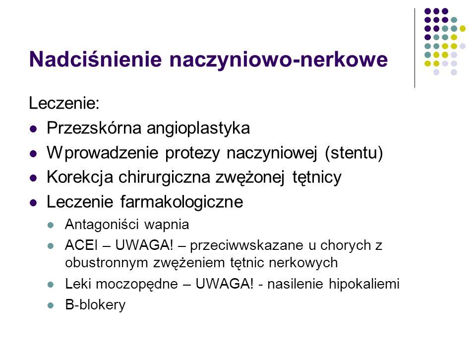 Nadciśnienie naczyniowo-nerkowe Leczenie: Przezskórna angioplastyka Wprowadzenie protezy naczyniowej (stentu) Korekcja chirurgiczna zwężonej tętnicy L