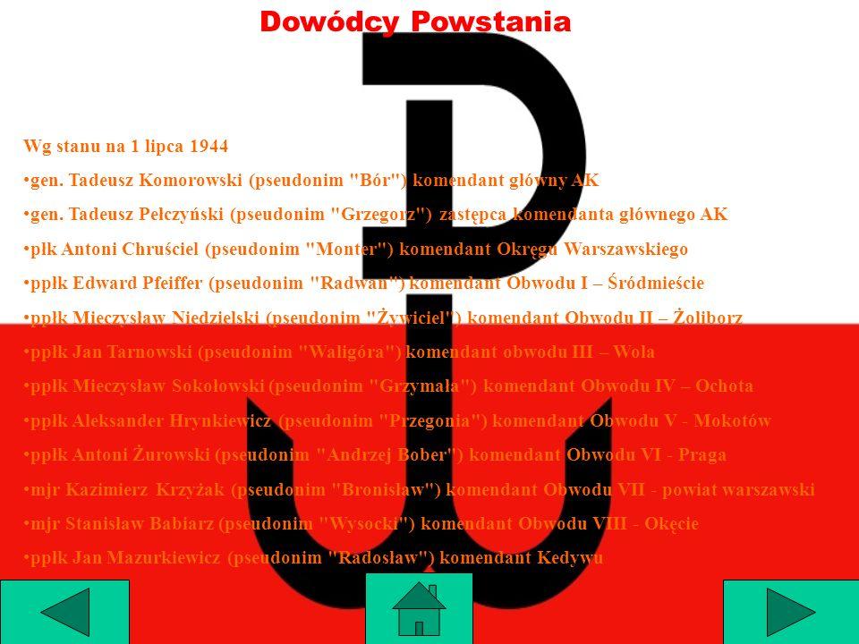 Dowódcy Powstania Wg stanu na 1 lipca 1944 gen. Tadeusz Komorowski (pseudonim