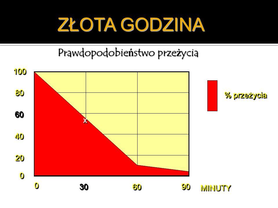 ZŁOTA GODZINA Prawdopodobieństwo przeżycia % przeżycia 00 3030 6060 9090 MINUTYMINUTY 00 2020 4040 6060 8080 100100 x x