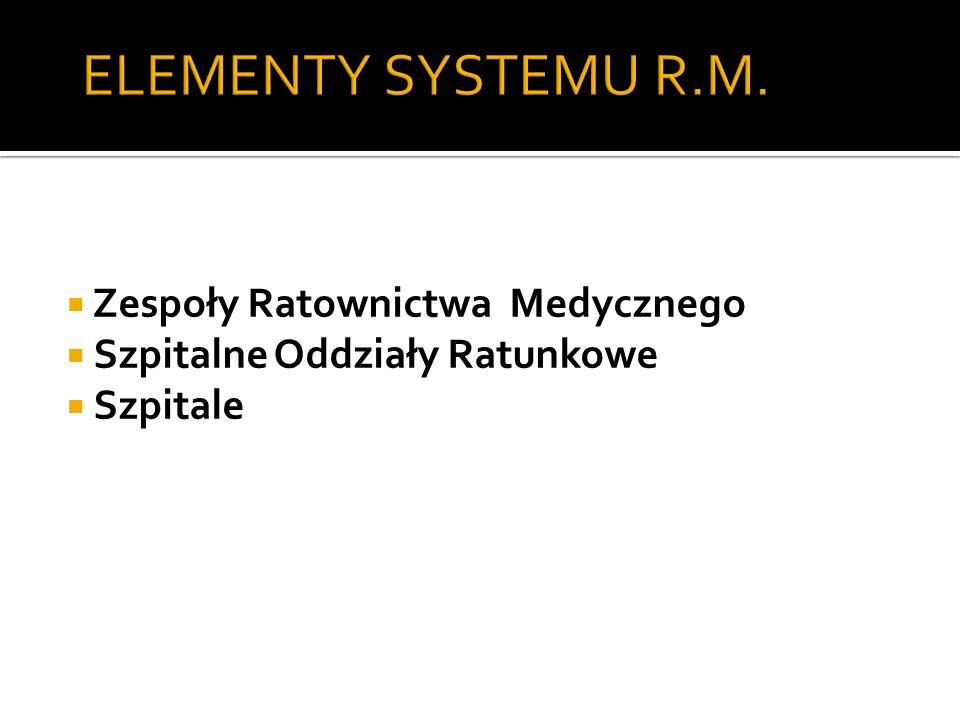 ELEMENTY SYSTEMU R.M. Zespoły Ratownictwa Medycznego Szpitalne Oddziały Ratunkowe Szpitale