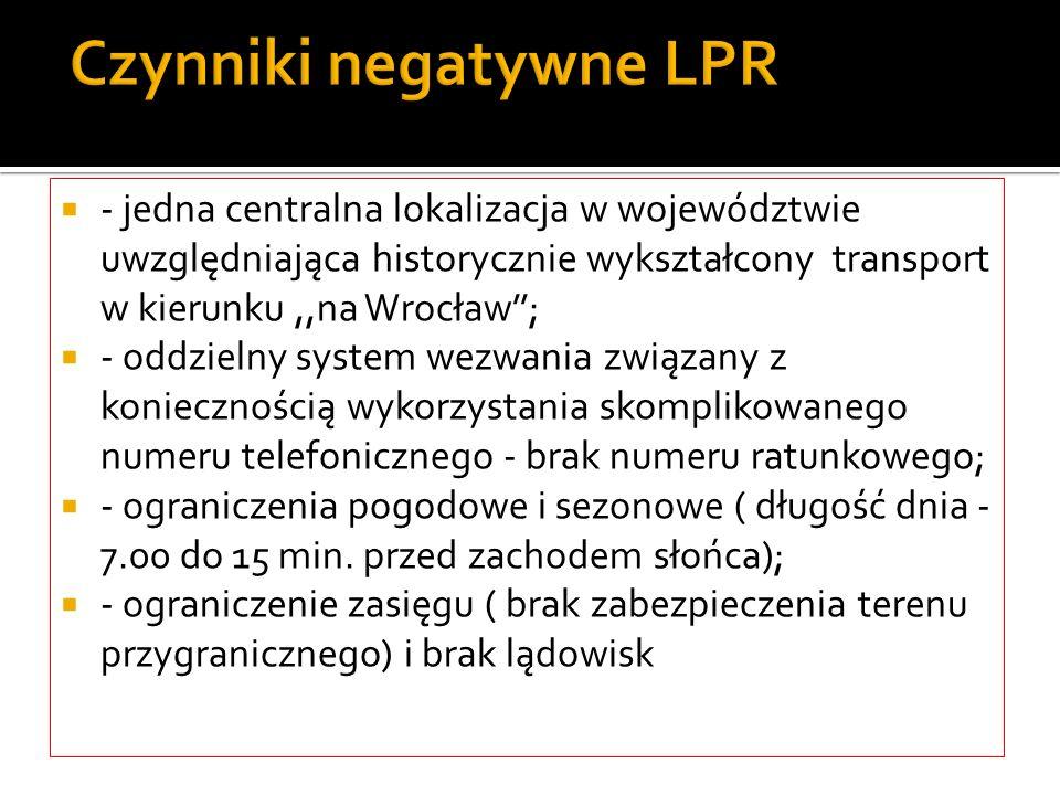 Czynniki negatywne LPR - jedna centralna lokalizacja w województwie uwzględniająca historycznie wykształcony transport w kierunku,,na Wrocław; - oddzi