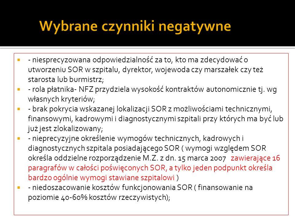 Wybrane czynniki negatywne - niesprecyzowana odpowiedzialność za to, kto ma zdecydować o utworzeniu SOR w szpitalu, dyrektor, wojewoda czy marszałek c