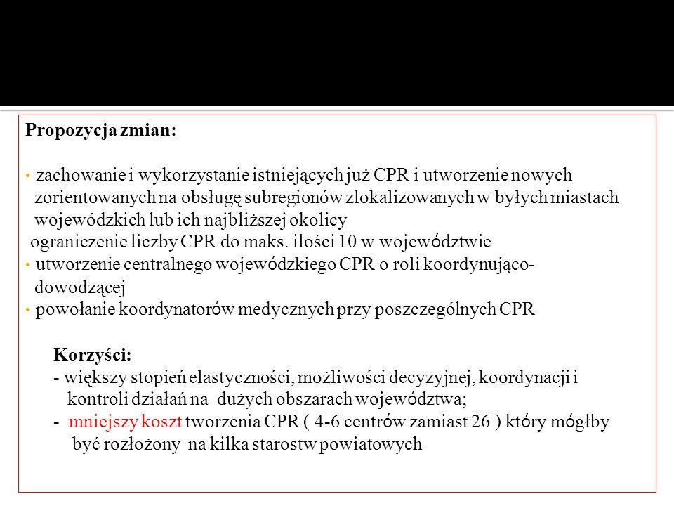 Propozycja zmian: zachowanie i wykorzystanie istniejących już CPR i utworzenie nowych zorientowanych na obsługę subregionów zlokalizowanych w byłych m