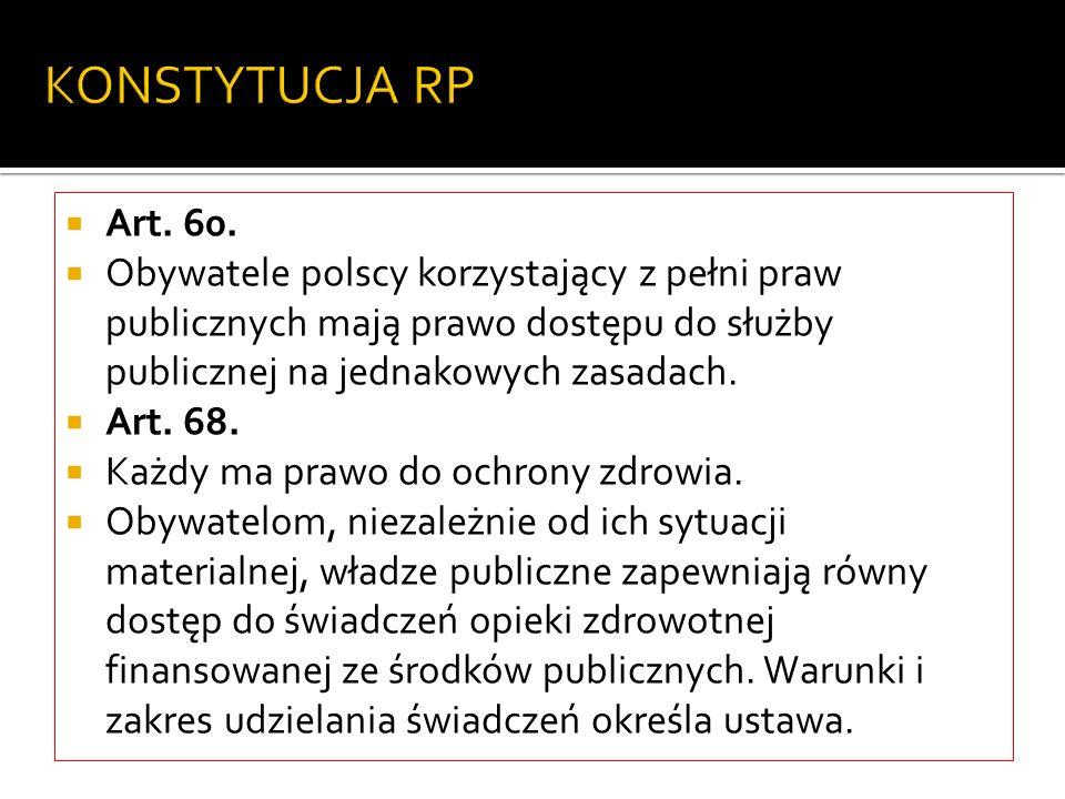 KONSTYTUCJA RP Art. 60. Obywatele polscy korzystający z pełni praw publicznych mają prawo dostępu do służby publicznej na jednakowych zasadach. Art. 6