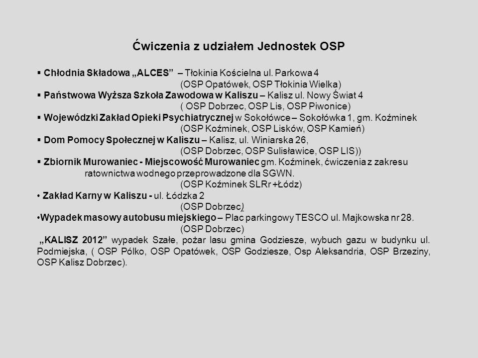 Ćwiczenia z udziałem Jednostek OSP Chłodnia Składowa ALCES – Tłokinia Kościelna ul. Parkowa 4 (OSP Opatówek, OSP Tłokinia Wielka) Państwowa Wyższa Szk