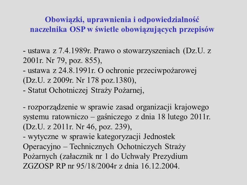 Obowiązki naczelnika OSP - kierowanie całokształtem działalności JOT i nadzór nad jej gotowością bojową, - typowanie członków czynnych do składu osobowego JOT, - dysponowanie siłami i środkami JOT, - dowodzenie załogami JOT w czasie działań ratowniczych i zabezpieczających, - współdziałanie na przydzielonym odcinku działań z innymi służbami i jednostkami ratowniczymi uczestniczącymi w akcji, - zapewnienie zgłoszenia do właściwego stanowiska kierowania każdego wyjazdu i powrotu, - dopilnowanie sporzadzenia wymaganej dokumentacji z udziału JOT w akcjach ratowniczych i zabezpieczających, - zapewnienie natychmiastowego zgłoszenia do właściwego stanowiska kierowania niezdolności do działań jednostki – wycofanie z podziału bojowego,