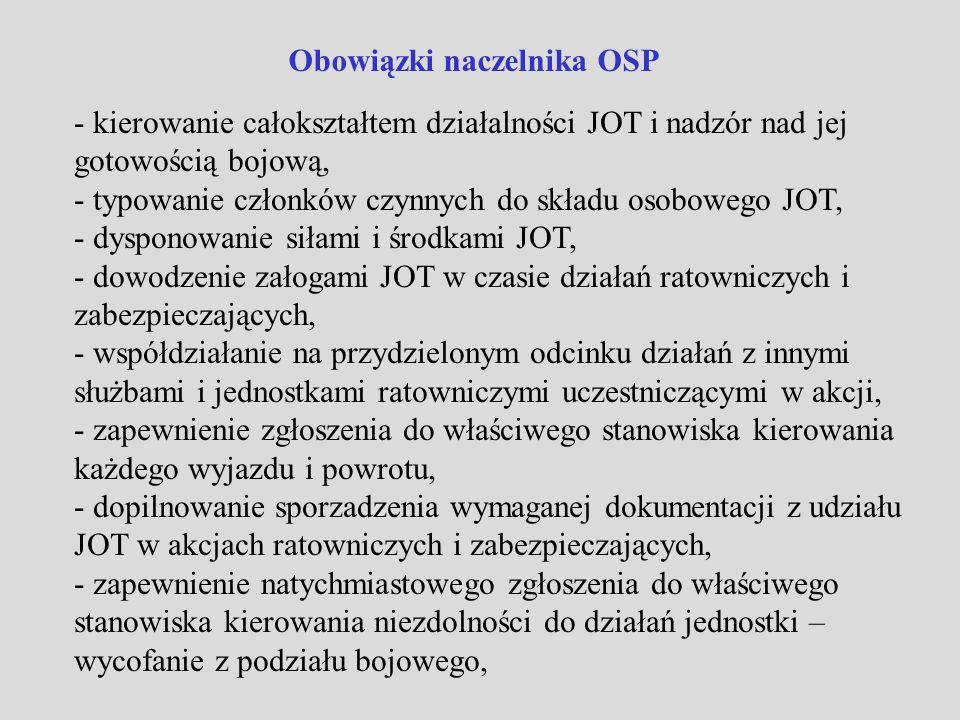 Obowiązki naczelnika OSP - nadzorowanie sprawności oraz prawidłowej eksploatacji i konserwacji sprzętu i wyposażenia JOT zgodnie z wymogami określonymi w instrukcjach i innych dokumentach, - planowanie szkolenia JOT oraz nadzór nad realizacją planów zajęć szkoleniowych, udział bezpośredni w szkoleniu, - nadzór nad właściwym zabezpieczeniem sprzętu i wyposażenia JOT przed kradzieżą, - nadzór nad przestrzeganiem przepisów BHP oraz badaniami lekarskimi ratowników OSP, - informowanie Zarządu OSP o problemach organizacyjnych i sprzętowych JOT oraz wnioskowanie sposobu ich usunięcia, - dokumentowanie działalności JOT w książce naczelnika OSP i innych wymaganych dokumentach.