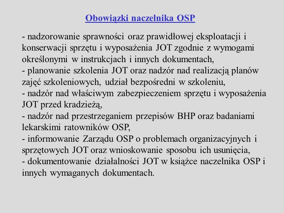 Uprawnienia naczelnika OSP - dysponowanie siłami i środkami JOT, - kierowanie (dowodzenie) jednostkowo JOT w formie poleceń i rozkazów, -mianowanie dowódców zastępów, sekcji, - udzielanie wyróżnień i kar statutowych ratownikom OSP, - przekazanie części swoich obowiązków zastępcy oraz innym dowódcom funkcjonującym w strukturze JOT, - pełnienie funkcji wiceprezesa OSP, - inne uprawnienia wynikające z przepisów oraz statutu OSP i statutu Związku OSP.