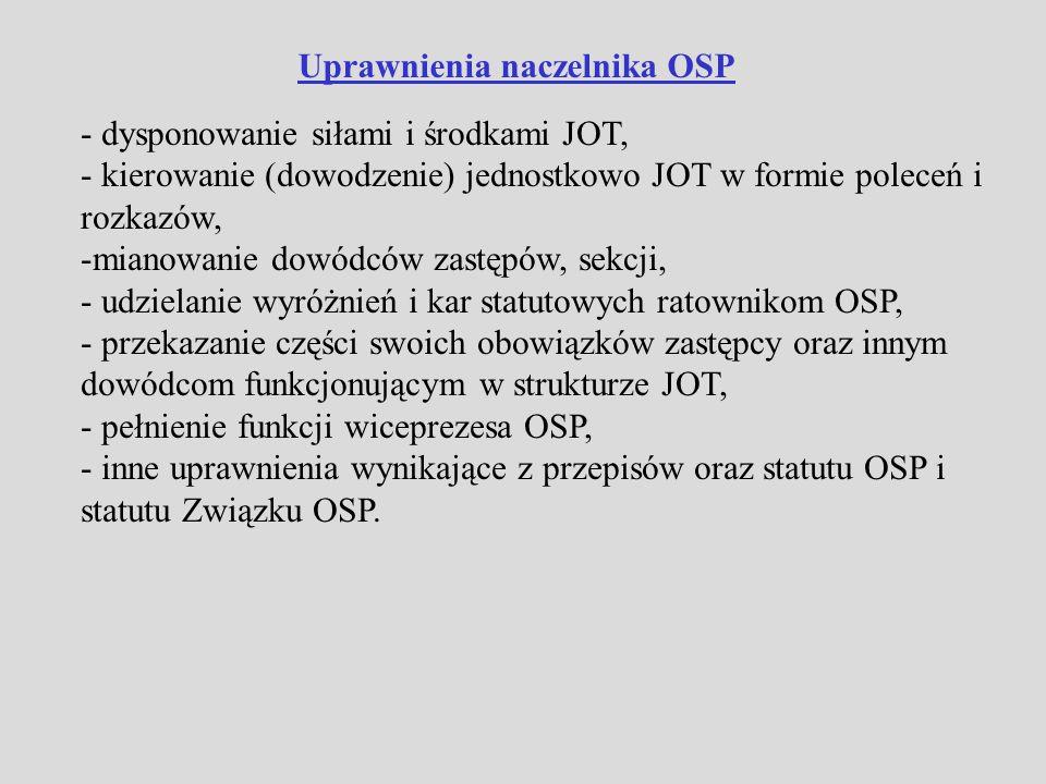 Ospowiedzialność Naczelnik OSP ponosi odpowiedzialność statutową za przygotowanie do działań, gotowość bojową i sprawność JOT a także zapewnienie na miarę posiadanych możliwości bezpieczeństwa ratowników OSP.