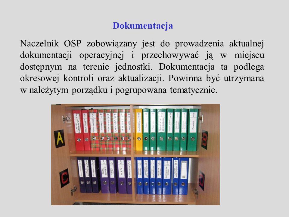 Dokumentacja Naczelnik OSP zobowiązany jest do prowadzenia aktualnej dokumentacji operacyjnęj i przechowywać ją w miejscu dostępnym na terenie jednost