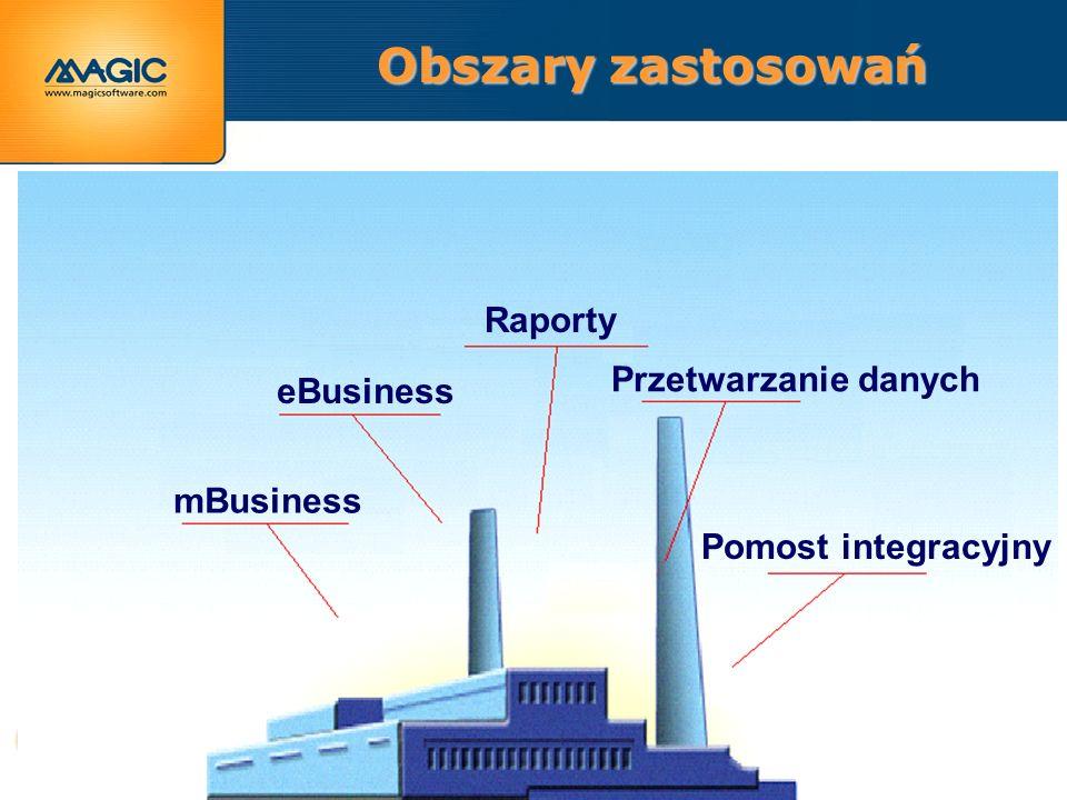 Obszary zastosowań Pomost integracyjny Przetwarzanie danych Raporty eBusiness mBusiness