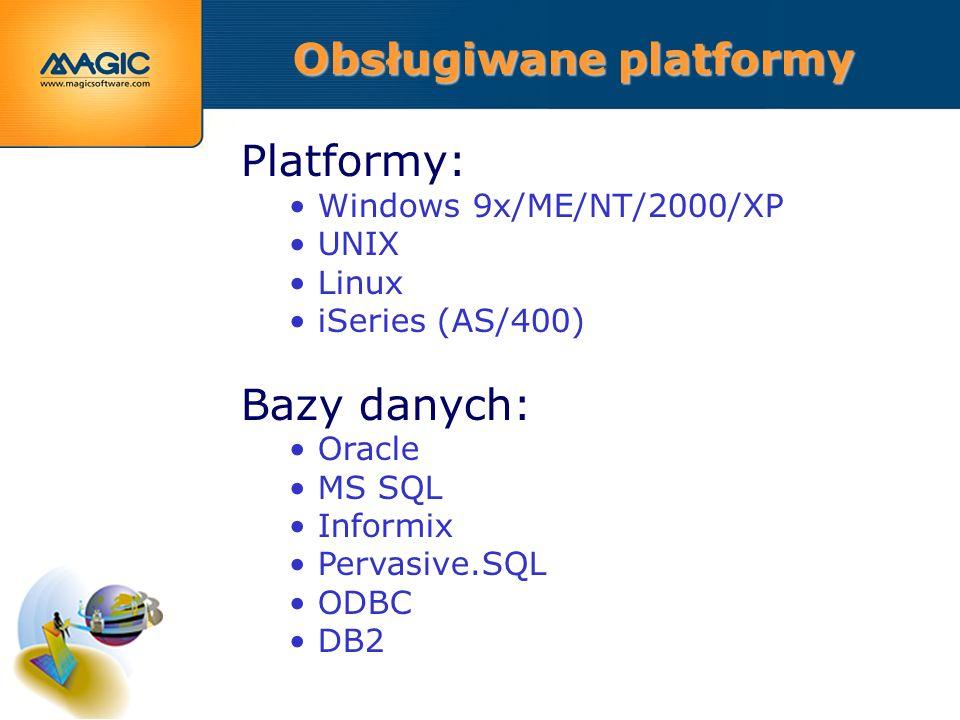 Platformy: Windows 9x/ME/NT/2000/XP UNIX Linux iSeries (AS/400) Bazy danych: Oracle MS SQL Informix Pervasive.SQL ODBC DB2 Obsługiwane platformy