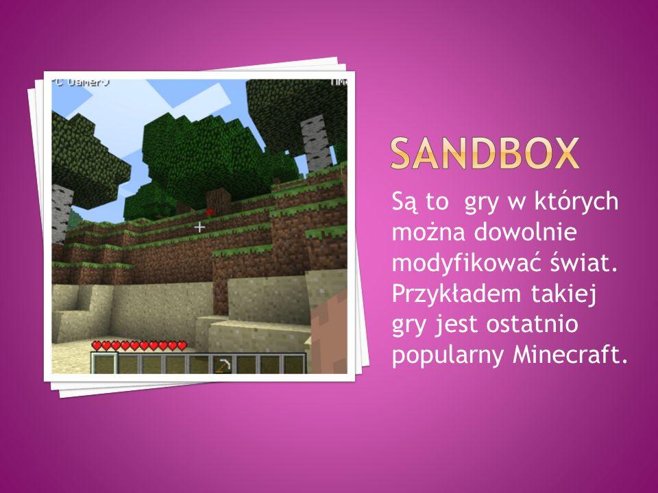 Są to gry w których można dowolnie modyfikować świat. Przykładem takiej gry jest ostatnio popularny Minecraft.