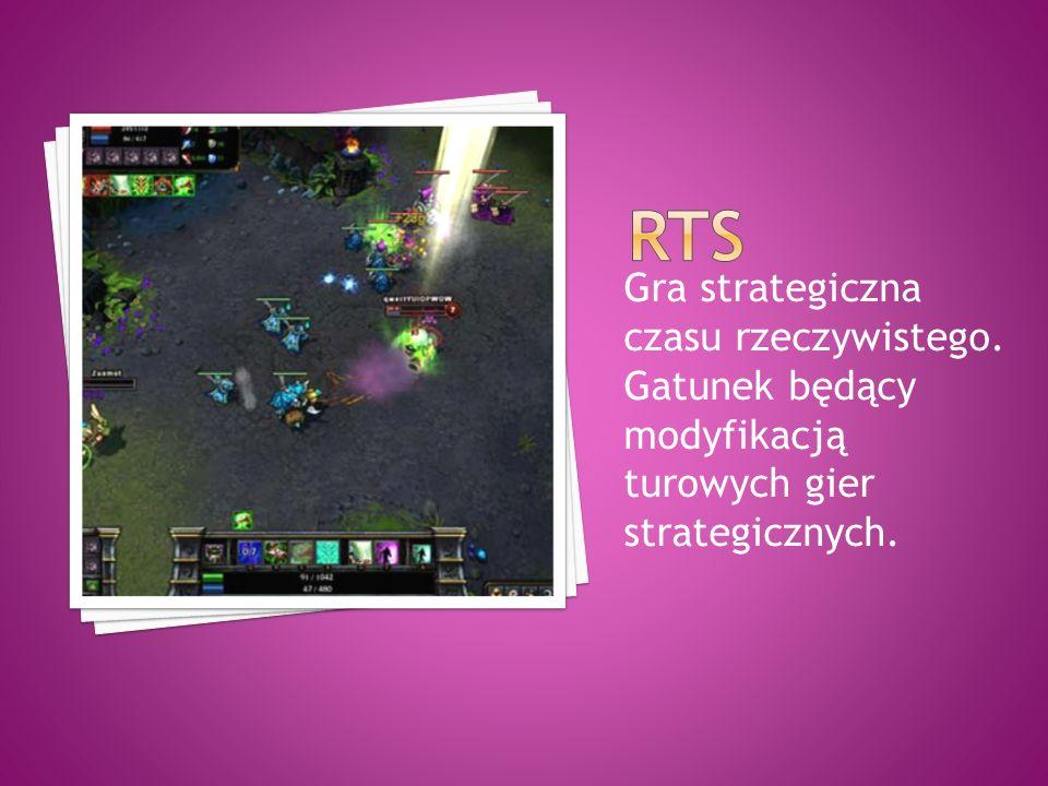 Gra strategiczna czasu rzeczywistego. Gatunek będący modyfikacją turowych gier strategicznych.