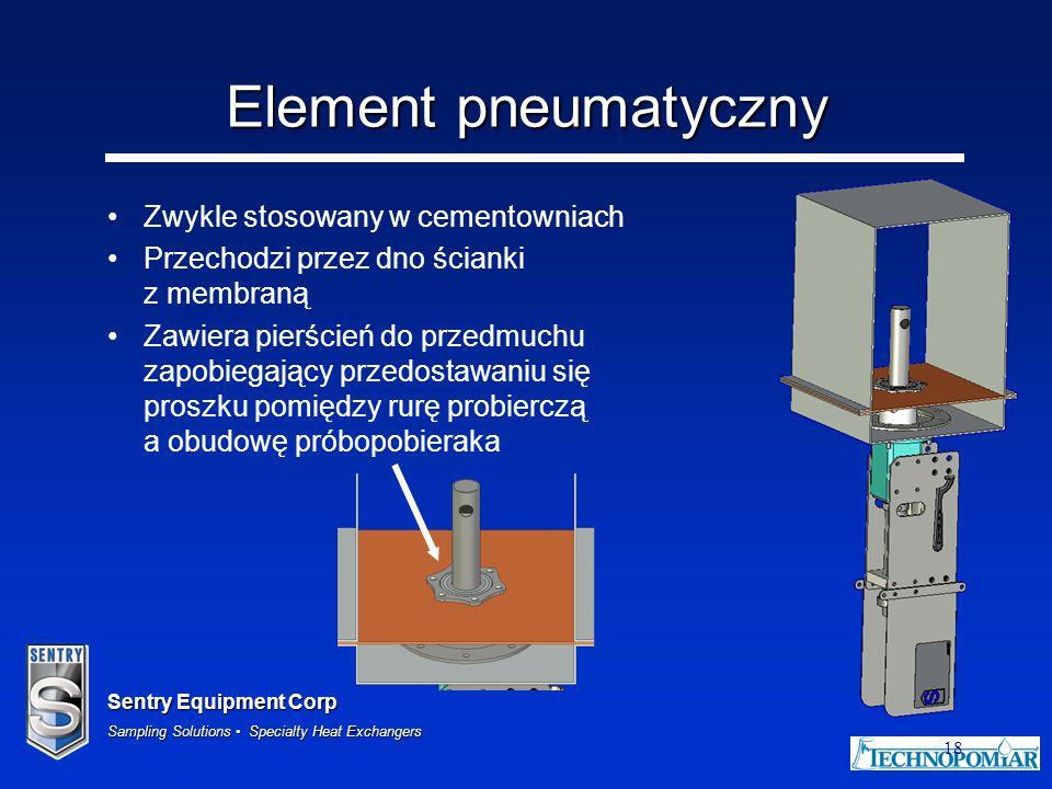 Sentry Equipment Corp Sampling Solutions Specialty Heat Exchangers 18 Element pneumatyczny Zwykle stosowany w cementowniach Przechodzi przez dno ścian