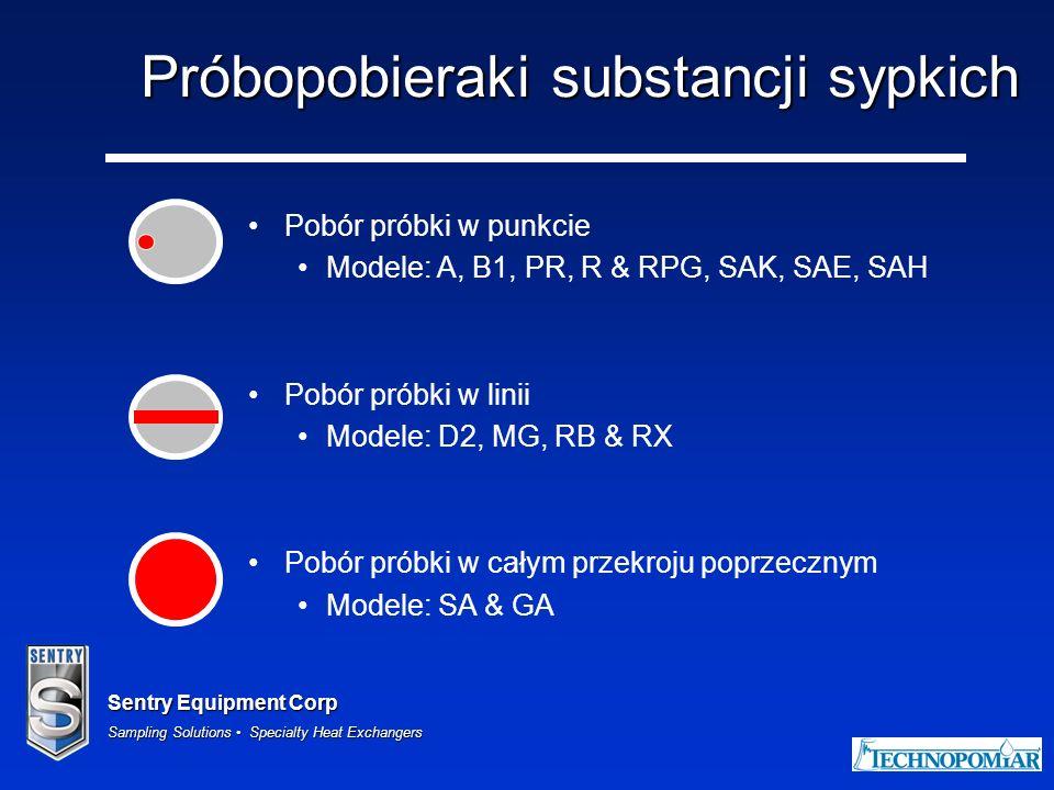 Sentry Equipment Corp Sampling Solutions Specialty Heat Exchangers Próbopobieraki substancji sypkich Pobór próbki w punkcie Modele: A, B1, PR, R & RPG