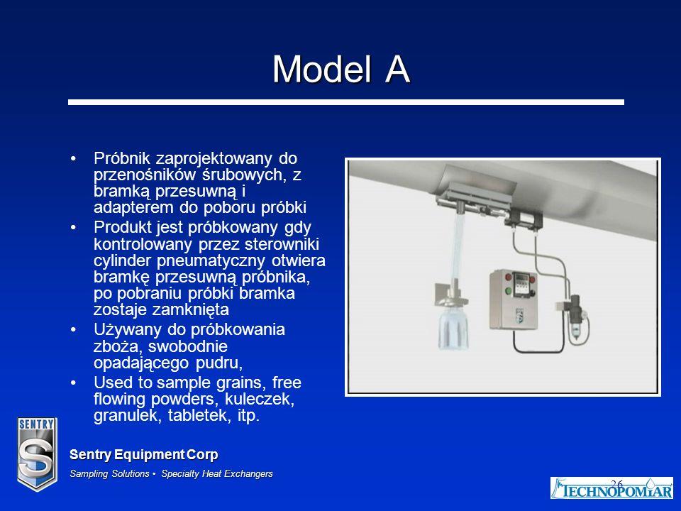 Sentry Equipment Corp Sampling Solutions Specialty Heat Exchangers 26 Model A Próbnik zaprojektowany do przenośników śrubowych, z bramką przesuwną i a