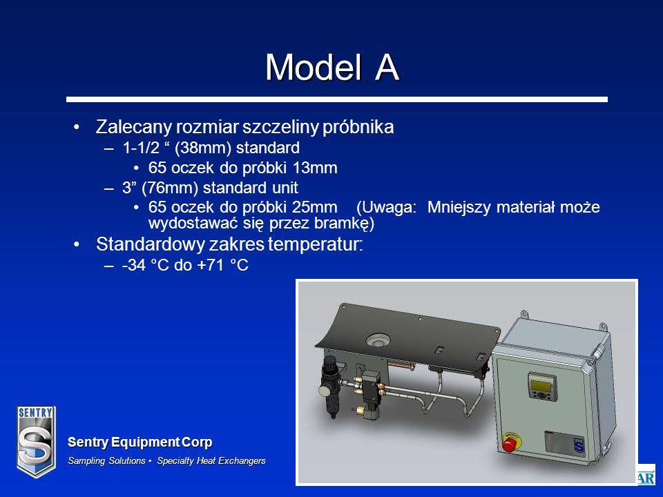 Sentry Equipment Corp Sampling Solutions Specialty Heat Exchangers 27 Model A Zalecany rozmiar szczeliny próbnika –1-1/2 (38mm) standard 65 oczek do p