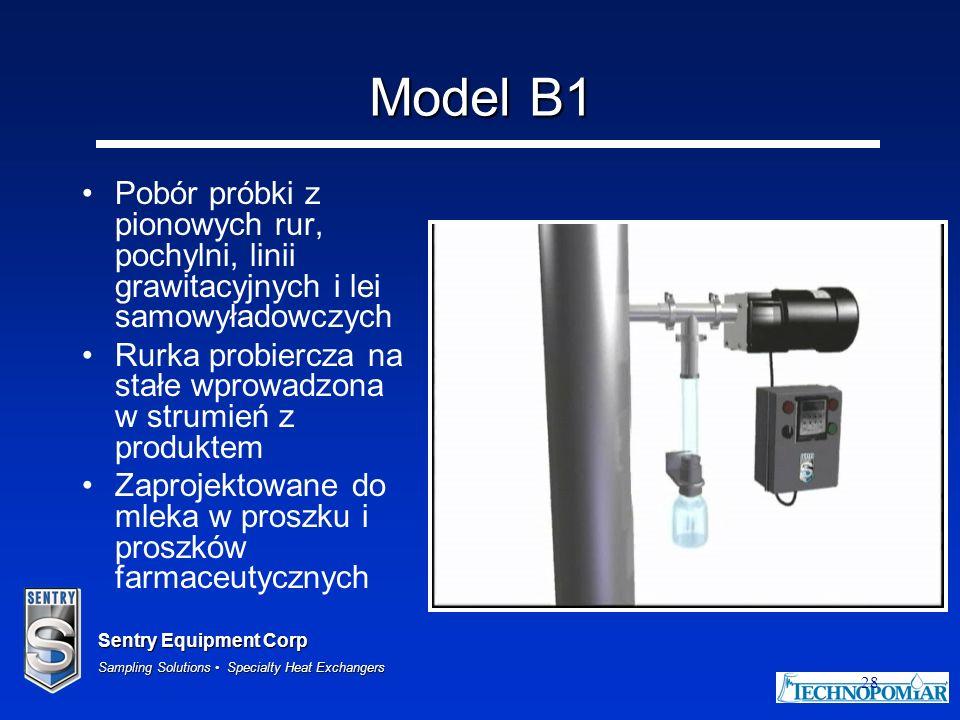 Sentry Equipment Corp Sampling Solutions Specialty Heat Exchangers 28 Model B1 Pobór próbki z pionowych rur, pochylni, linii grawitacyjnych i lei samo