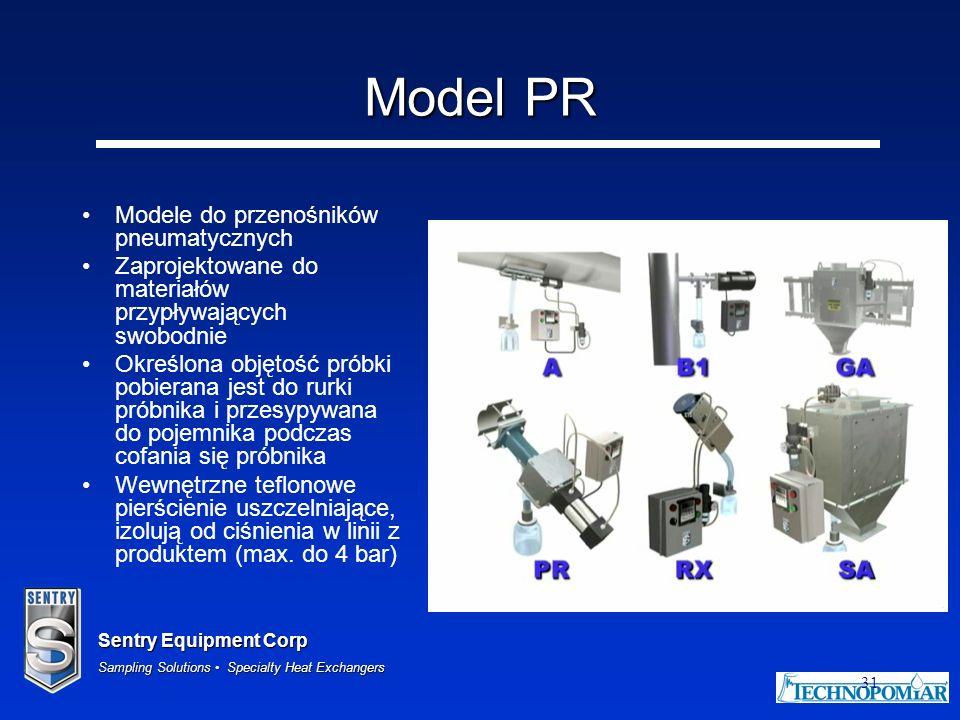 Sentry Equipment Corp Sampling Solutions Specialty Heat Exchangers 31 Model PR Modele do przenośników pneumatycznych Zaprojektowane do materiałów przy