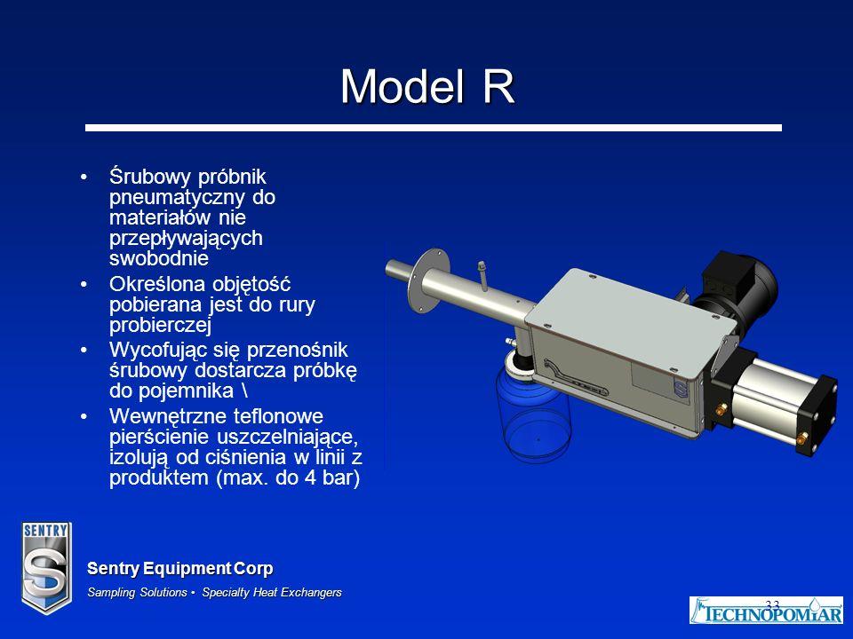 Sentry Equipment Corp Sampling Solutions Specialty Heat Exchangers 33 Model R Śrubowy próbnik pneumatyczny do materiałów nie przepływających swobodnie