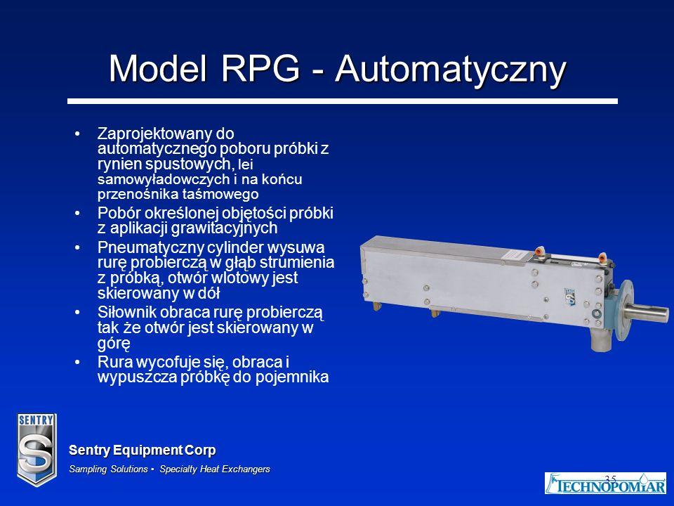 Sentry Equipment Corp Sampling Solutions Specialty Heat Exchangers 35 Model RPG - Automatyczny Zaprojektowany do automatycznego poboru próbki z rynien