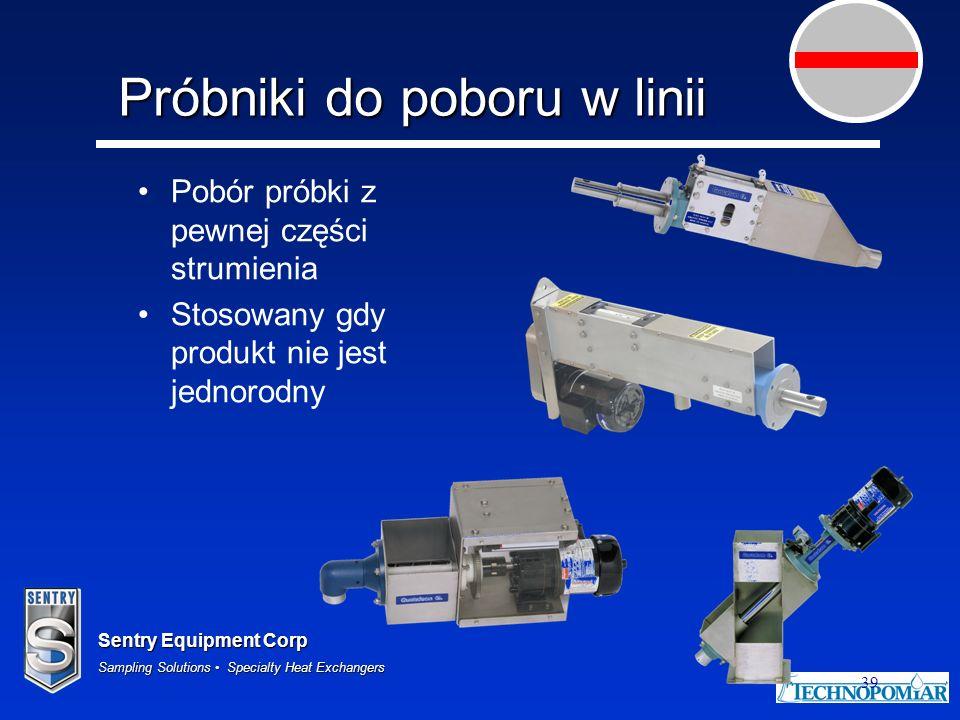 Sentry Equipment Corp Sampling Solutions Specialty Heat Exchangers 39 Próbniki do poboru w linii Pobór próbki z pewnej części strumienia Stosowany gdy