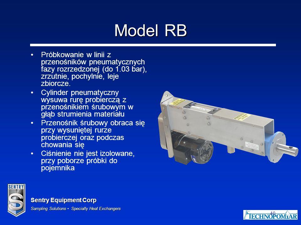 Sentry Equipment Corp Sampling Solutions Specialty Heat Exchangers 40 Model RB Próbkowanie w linii z przenośników pneumatycznych fazy rozrzedzonej (do