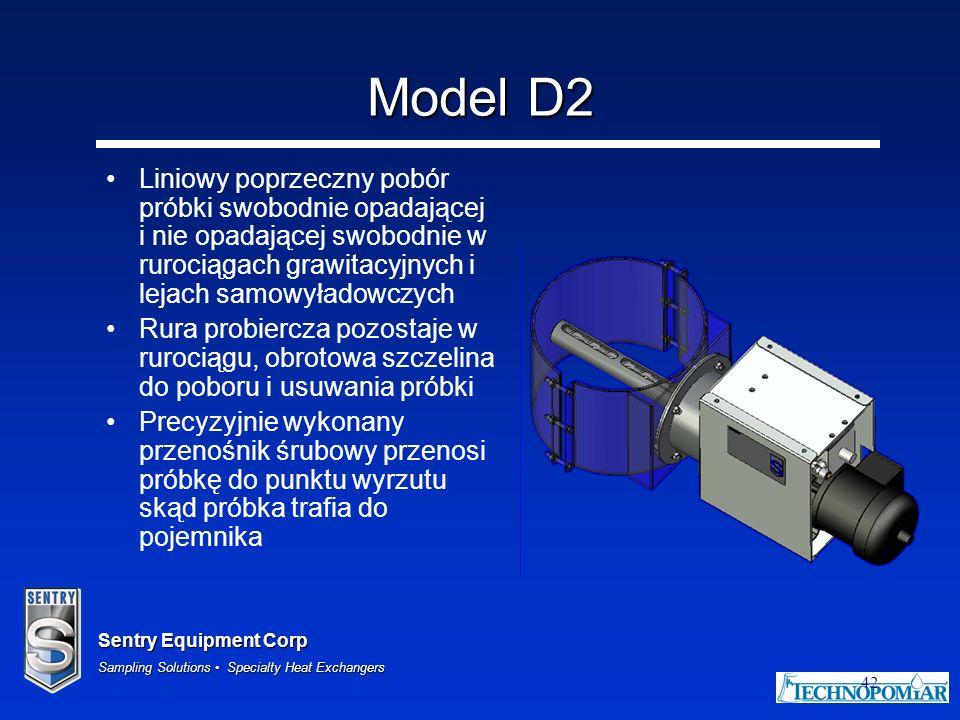 Sentry Equipment Corp Sampling Solutions Specialty Heat Exchangers 42 Model D2 Liniowy poprzeczny pobór próbki swobodnie opadającej i nie opadającej s