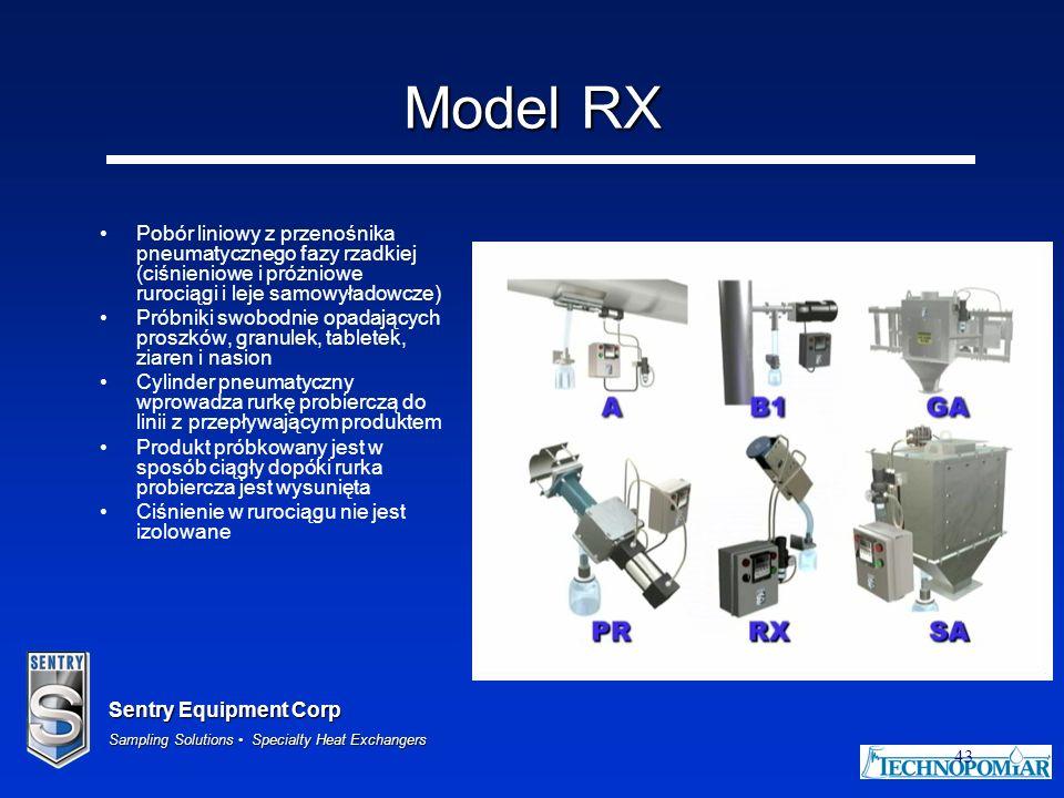 Sentry Equipment Corp Sampling Solutions Specialty Heat Exchangers 43 Model RX Pobór liniowy z przenośnika pneumatycznego fazy rzadkiej (ciśnieniowe i