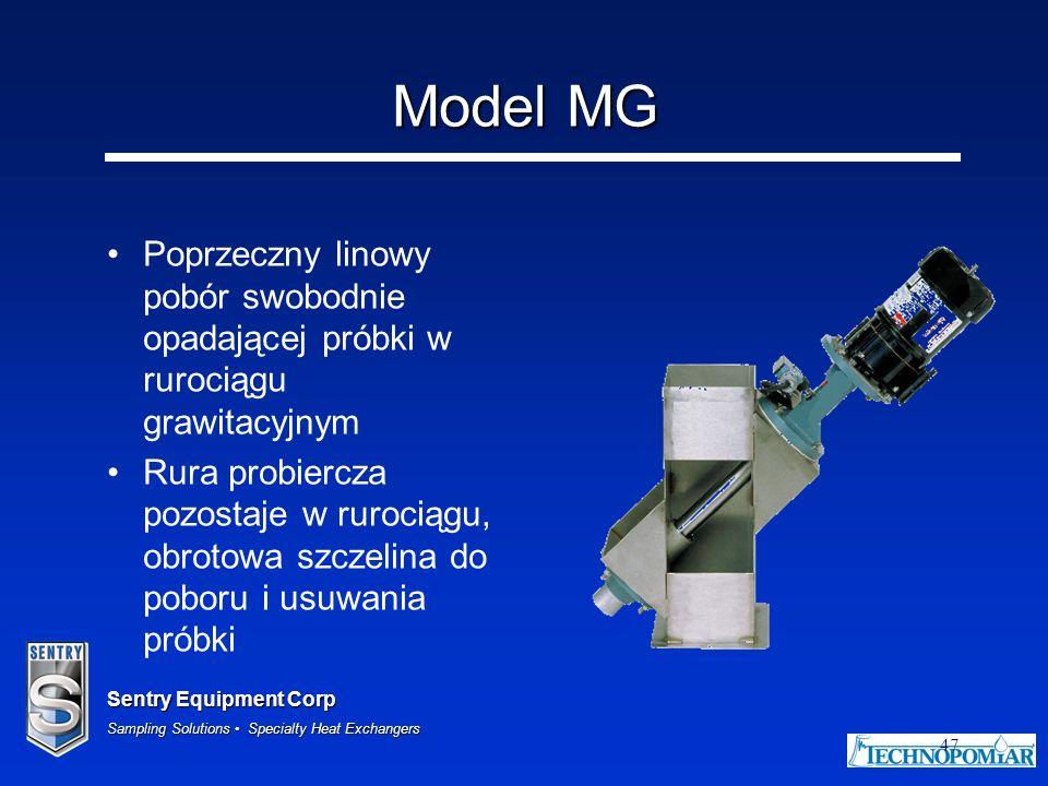 Sentry Equipment Corp Sampling Solutions Specialty Heat Exchangers 47 Model MG Poprzeczny linowy pobór swobodnie opadającej próbki w rurociągu grawita