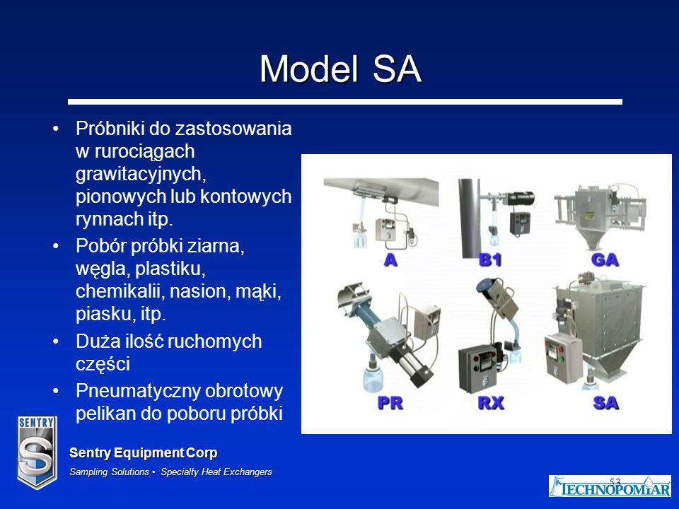 Sentry Equipment Corp Sampling Solutions Specialty Heat Exchangers 53 Model SA Próbniki do zastosowania w rurociągach grawitacyjnych, pionowych lub ko