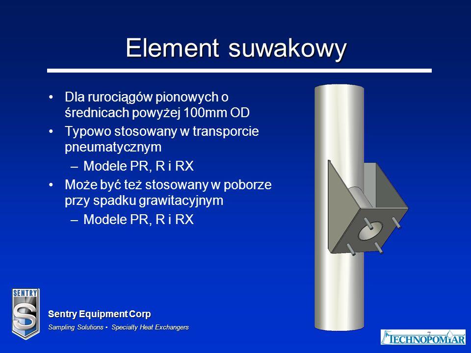Sentry Equipment Corp Sampling Solutions Specialty Heat Exchangers 18 Element pneumatyczny Zwykle stosowany w cementowniach Przechodzi przez dno ścianki z membraną Zawiera pierścień do przedmuchu zapobiegający przedostawaniu się proszku pomiędzy rurę probierczą a obudowę próbopobieraka