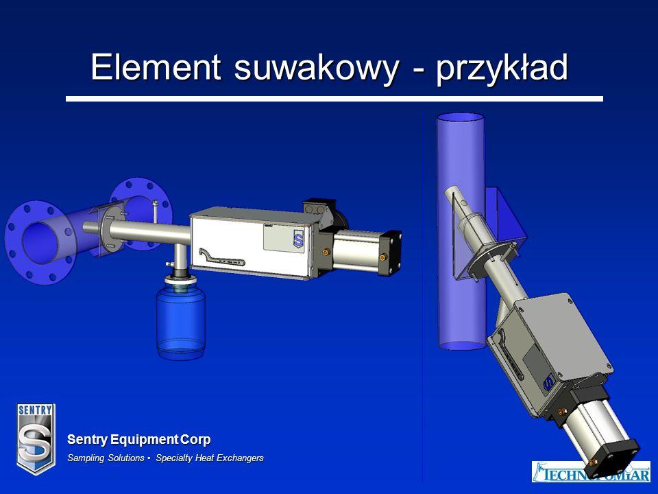 Sentry Equipment Corp Sampling Solutions Specialty Heat Exchangers 9 Element koncentryczny Dla rurociągów pionowych o średnicach do 100mm OD Tworzy ekspansję, która umożliwia przedłużenie rury probierczej Typowo stosowany w transporcie pneumatycznym –Modele PR, R i RX Może być też stosowany w poborze przy spadku grawitacyjnym –Modele PR, R i RX
