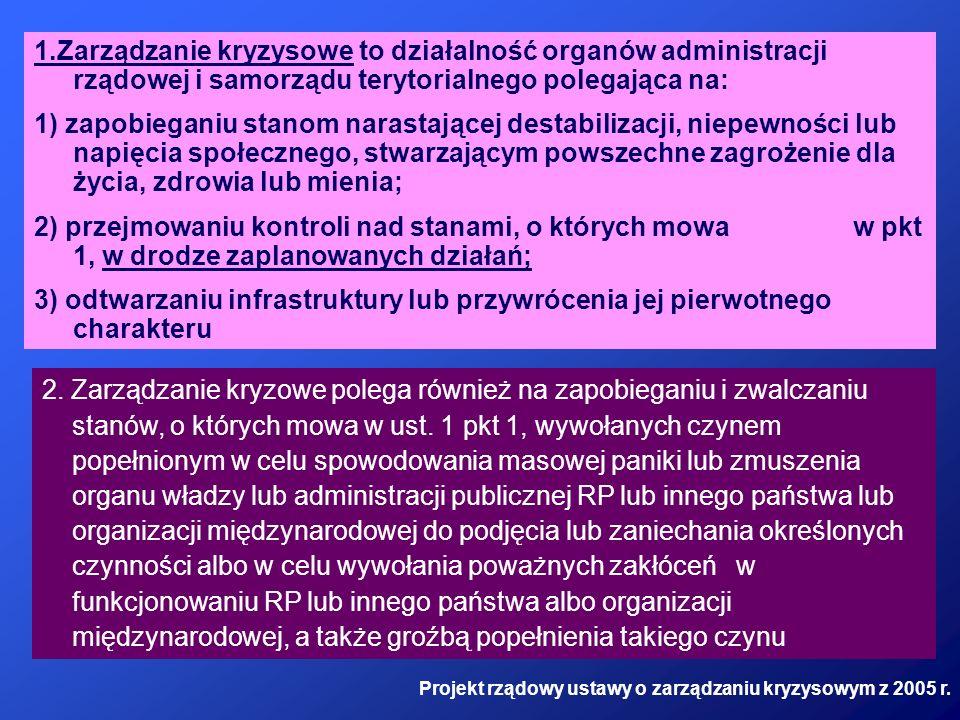 1.Zarządzanie kryzysowe to działalność organów administracji rządowej i samorządu terytorialnego polegająca na: 1) zapobieganiu stanom narastającej de