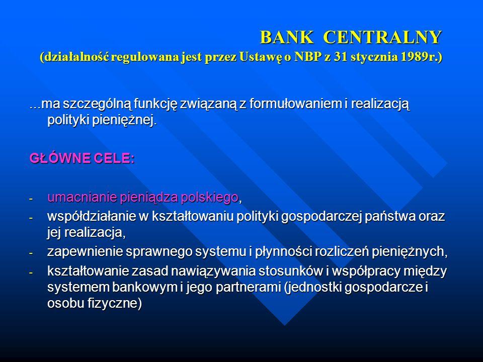 BANK CENTRALNY (działalność regulowana jest przez Ustawę o NBP z 31 stycznia 1989r.)...ma szczególną funkcję związaną z formułowaniem i realizacją pol