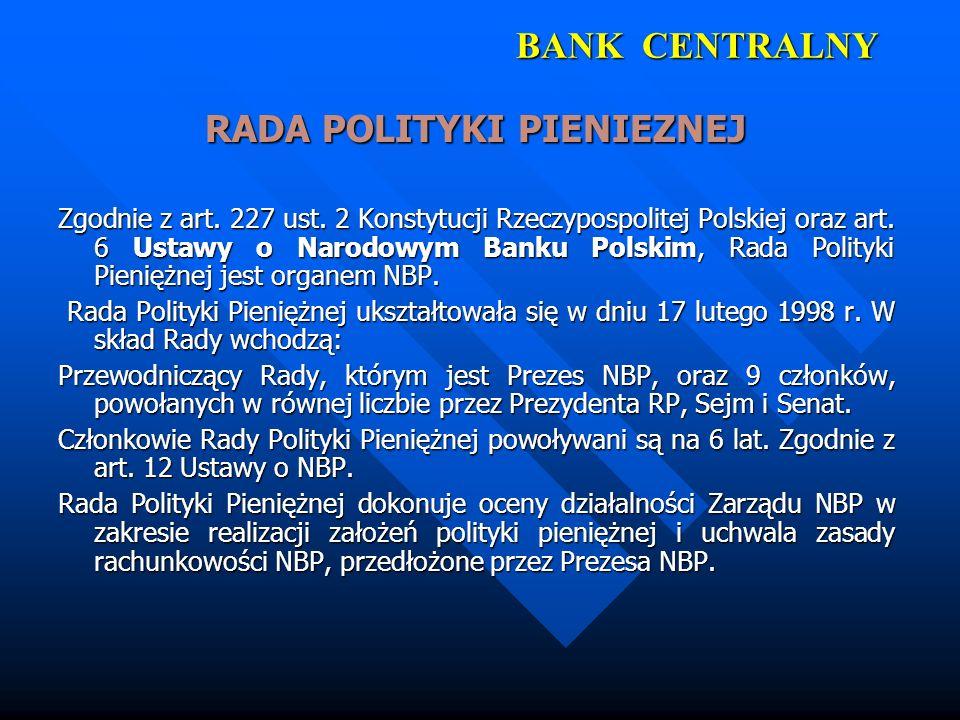 BANK CENTRALNY RADA POLITYKI PIENIEZNEJ Zgodnie z art. 227 ust. 2 Konstytucji Rzeczypospolitej Polskiej oraz art. 6 Ustawy o Narodowym Banku Polskim,