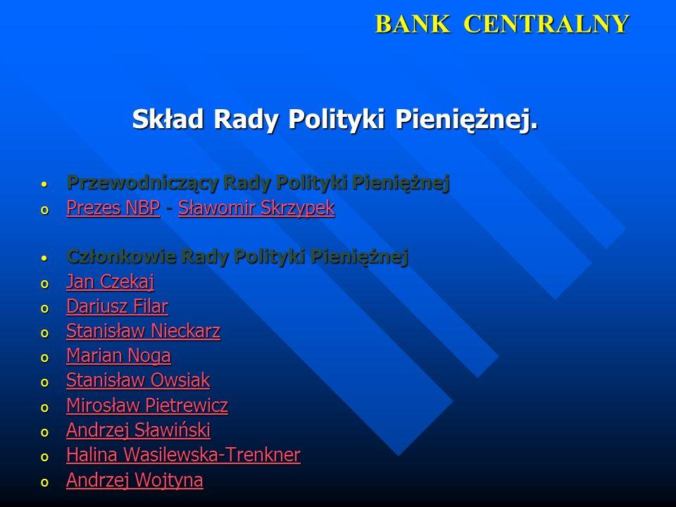 BANK CENTRALNY Skład Rady Polityki Pieniężnej. Przewodniczący Rady Polityki Pieniężnej Przewodniczący Rady Polityki Pieniężnej o Prezes NBP - Sławomir