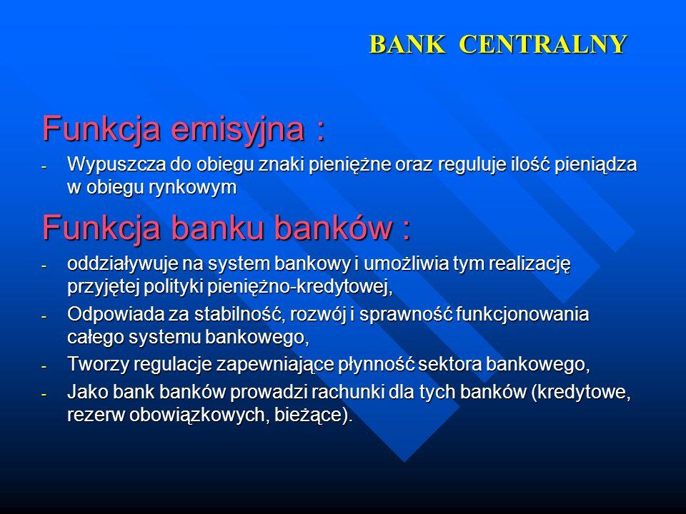 BANK CENTRALNY Funkcja emisyjna : - Wypuszcza do obiegu znaki pieniężne oraz reguluje ilość pieniądza w obiegu rynkowym Funkcja banku banków : - oddzi