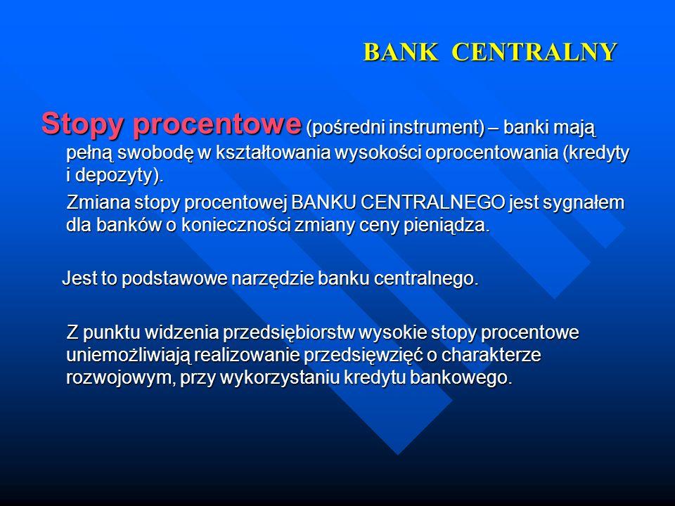 BANK CENTRALNY Stopy procentowe (pośredni instrument) – banki mają pełną swobodę w kształtowania wysokości oprocentowania (kredyty i depozyty). Zmiana